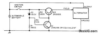 regulator for alternator circuit diagram tradeofic com Alternator Schematic Diagram simple and effective solid state replaeement for auto voltage regulator can be used with altemator in almost any negative ground system circuit acts as alternator circuit diagram