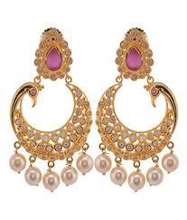violet purple gold plated chandelier earrings