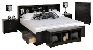 Prepac Sonoma 5 Piece King Bedroom Set with Storage Bench in