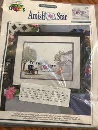 Color Charts Amish Star Cross Stitch Leaflet Steve Polomchak House Quilt Buggy
