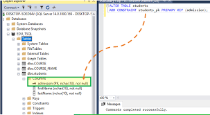 sql primary key how to create add to
