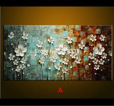 2018 oil painting palette knife thick paint white flowers painting modern home canvas wall living room decor art picture from hongkongart