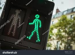 Pedestrian Light Crossing Pedestrian Crossing Traffic Lights Show Green Stock Photo