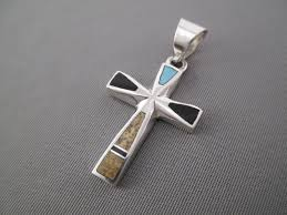 cross pendant multi stone with turquoise inlay cross pendant by navajo jeweler tim