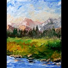 mark adam webster mark webster mountain river abstract palette knife acrylic painting