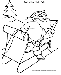 Christmas Santa Coloring Page Christmas Santa At The North Pole