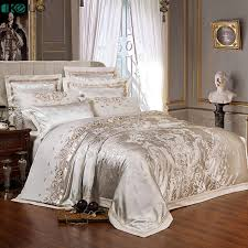 keluo wedding luxury satin jacquard bedding sets embroidery queen king size duvet cover bed sheet pillow sham red beige white bedding sets h39d85683816