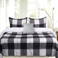 sweet home collection 4 piece buffalo check comforter set black and grey plaid tommy hilfiger twin