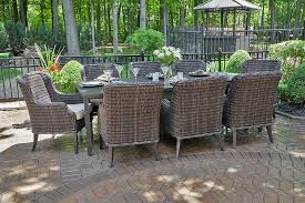 cool mila collection 8 person all weather wicker luxury patio furniture dining set outdoor dining