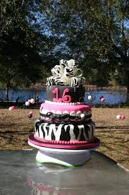 Pink And Zebra Striped Bow Sweet 16 Birthday Cake Lolos Cakes