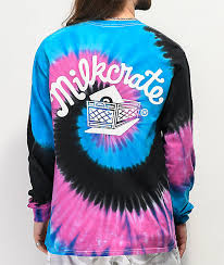 Milkcrate Logo Navy Pink Black Tie Dye Long Sleeve T Shirt