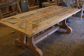 Reclaimed Wood Dining Table And Chairs Custom Trestle Dining Table With Leaf Extensions Built In