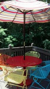 deck wrought iron table. My Newly Painted Wrought Iron Furniture And Stained Deck. Let The Summer  Begin! Deck Table E