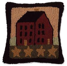 saltbox house pillow hooked wool