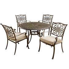 hanover traditions 5 piece patio outdoor dining set with 4 cast aluminum dining chairs