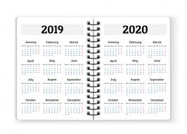 Calander Years Open Notebook Paper With Calendars For 2019 2020 Years
