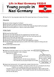 life in nazi for the youth worksheet pdf life in nazi young people assessment