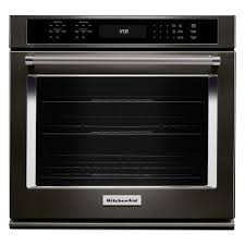 single electric wall oven self cleaning with convection in black stainless