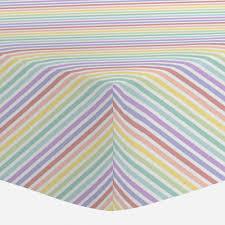 pastel rainbow stripe crib sheet