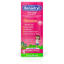 Childrens Benadryl Childrens Dye Free Allergy Liquid Bubble Gum Bubble Gum Flavored