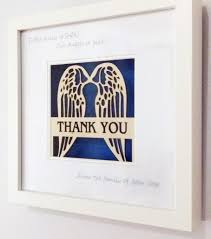 personalised angel wings laser cut thank you box frame gift