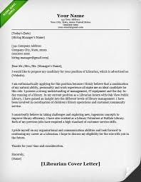 Free Sample Cover Letter For Job Application Impressive Librarian Cover Letters Resume Genius