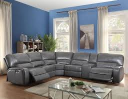 reclining sectional grey.  Reclining Saul Grey Leather Reclining Sectional In O