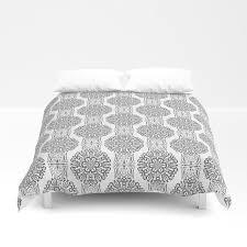 gray white damask ornament duvet cover