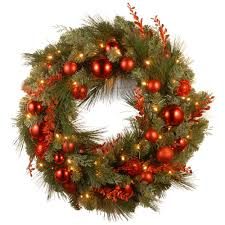 national tree company decorative collection christmas red mixed 24 in artificial wreath with battery operated national tree company wreaths a93