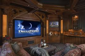 Decorations:Alluring Traditional Home Theater For Entertainment Room With  Wood Walls And Large Tv Alluring