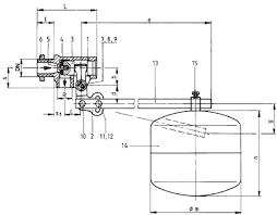 krombach® single seated float valve for internal installation krombach float valve internal installaion materials diagram