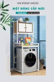 Kệ máy giặt 2 tầng có tủ 9HOUSE mã KMG06 loại kệ để máy giặt cửa