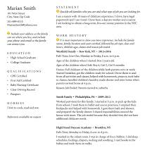 How Do I Create A Nanny Resume Tammy Gold Nanny Agency NYC Extraordinary Infant Nanny Resume