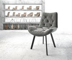 Delife Esszimmerstuhl Taimi Flex Grau Samt 4 Fuß Oval Schwarz Esszimmerstühle