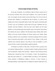 english cause and effect essay binge drinking cause and effect  6 pages english discourage binge drinking