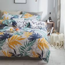 navy blue mustard yellow leaves pattern bedding set duvet cover comforter