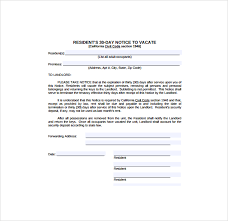 resident 30 day notice template thirty day notice letter