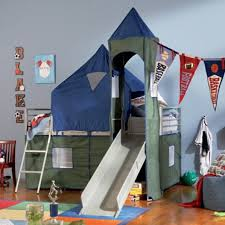 Twin Loft Tent Bunk Bed with Slide Blue Green