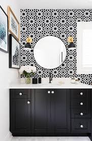 bathroom black and white wallpaper