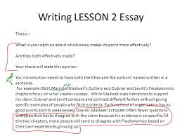 bellringer oct which letter indicates the error in the  writing lesson 2 essay thesis what is your opinion about which essay makes its point