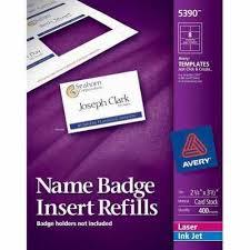 Avery Templates 5390 Avery Name Badge Insert Refills