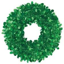 Green Tinsel Wreath With Twinkling Lights Amscan 17 In Green Tinsel Wreath 2 Pack