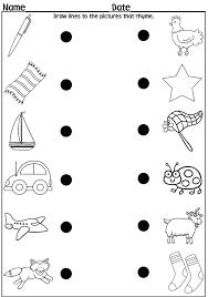 Back To School Kindergarten Worksheets Rhyming Worksheet Words Grade ...