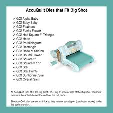 Comparing Fabric Cutting Machines - Heart at Home : Heart at Home & Accuquilt_dies_fit_Big_Shot Adamdwight.com