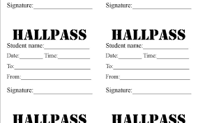 Hall Pass Template Awesome Free Hall Passes For School At Best