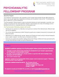 psychoanalytic fellowship program chicago institute for  psychoanalytic fellowship program