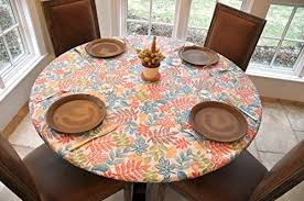 antique round table top cover fitted vinyl dining patio elastic 45 56 inch l 602401761056