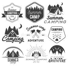 Download Vector Set Of Camping Labels In Vintage Style. Design Elements  Isolated On White Background