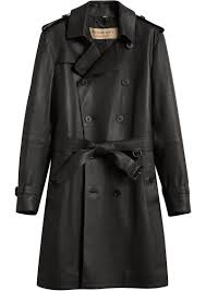 burberry leather trench coat black