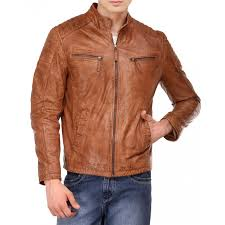 men s tan brown distressed leather quilted jacket zoom men s
